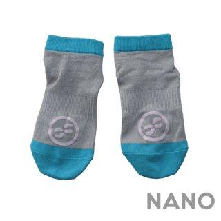 【FIBRA】フィブラ ナノフロントRUN用靴下 グレー × アクアブルー