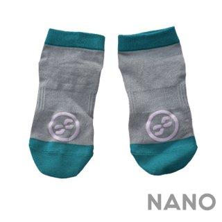 【FIBRA】フィブラ ナノフロントRUN用靴下 グレー×グリーン