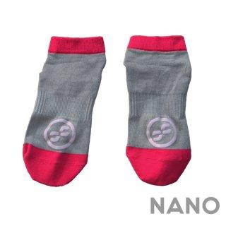 【FIBRA】フィブラ ナノフロントRUN用靴下 グレー × ピンク