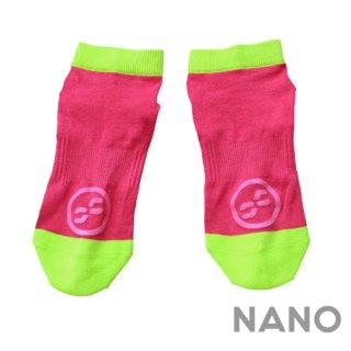【FIBRA】フィブラ ナノフロントRUN用靴下 ピンク×ネオンイエロー