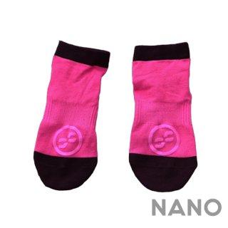 【FIBRA】フィブラ ナノフロントRUN用靴下 ピンク×ブラック