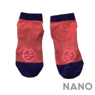 【FIBRA】フィブラ ナノフロントRUN用靴下 レッド×ネイビー