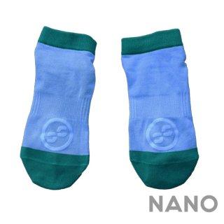 【FIBRA】フィブラ ナノフロントRUN用靴下 ブルー×グリーン