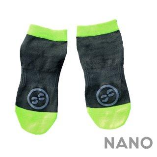 【FIBRA】フィブラ ナノフロントRUN用靴下 ブラック×ネオンイエロー