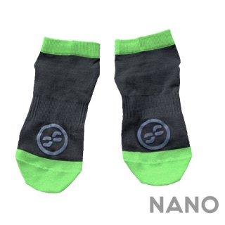 【FIBRA】フィブラ ナノフロントRUN用靴下 ブラック×ネオングリーン