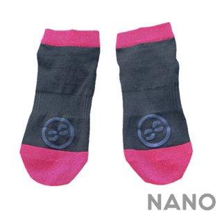 【FIBRA】フィブラ ナノフロントRUN用靴下 ブラック×ピンク