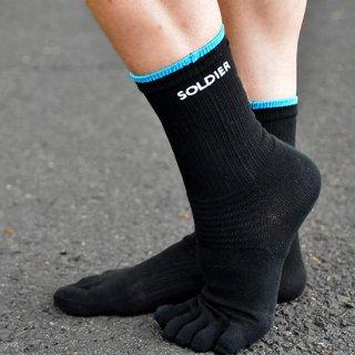 【FIBRA】ソルジャーソックス 5本指シームレスタイプ ロング丈ランニング用靴下