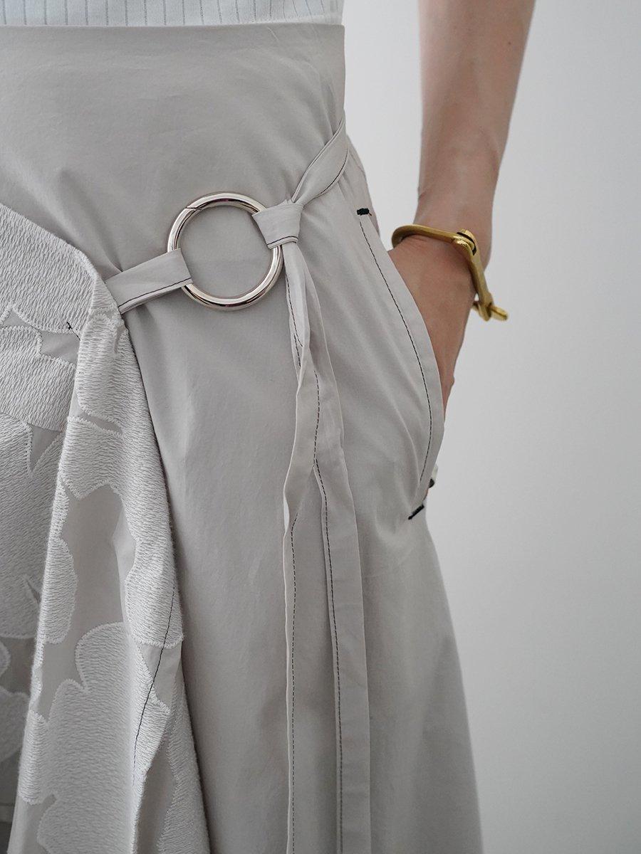 UJOH Flower Embroidery Random Hem Skirt