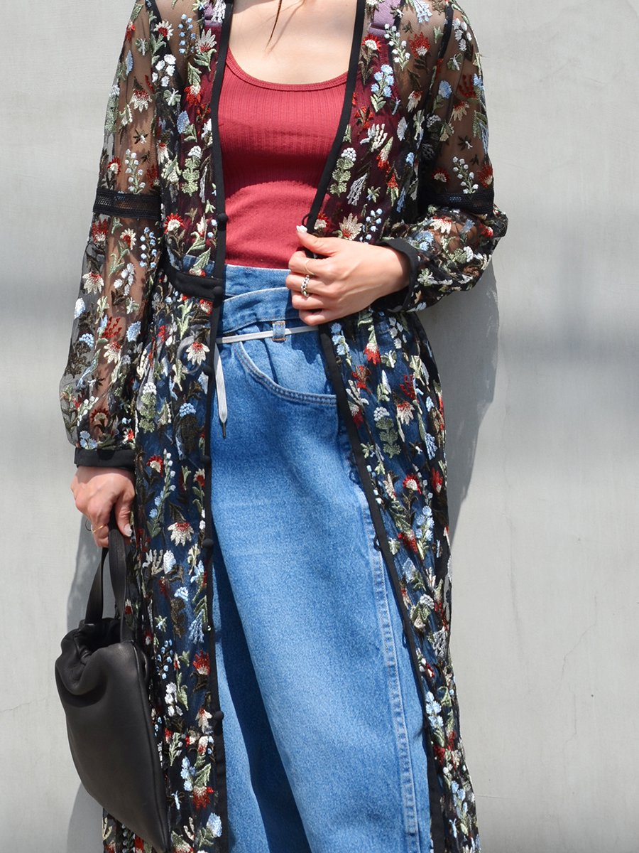LOKITHO BOTANICAL EMBROIDERY GOWN DRESS