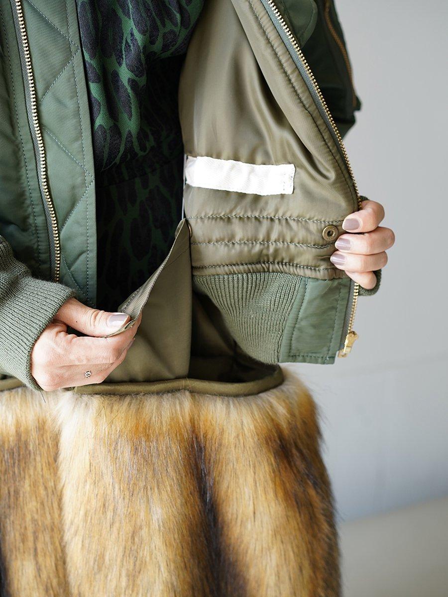 TOGA PLLA Nylon twill coat with fur
