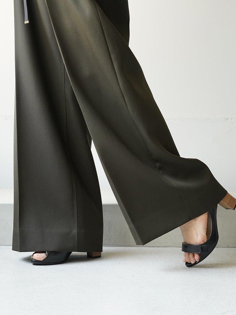 UJOH Wool Gabardine Wrap Tape-Belt Wide Pants