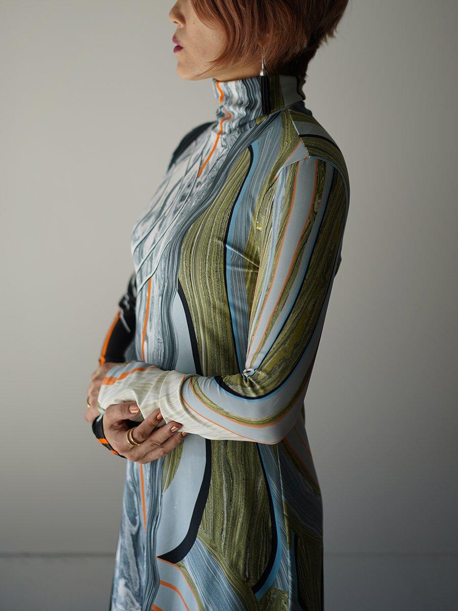 MameKurogouchi Marble Print Jersey Dress