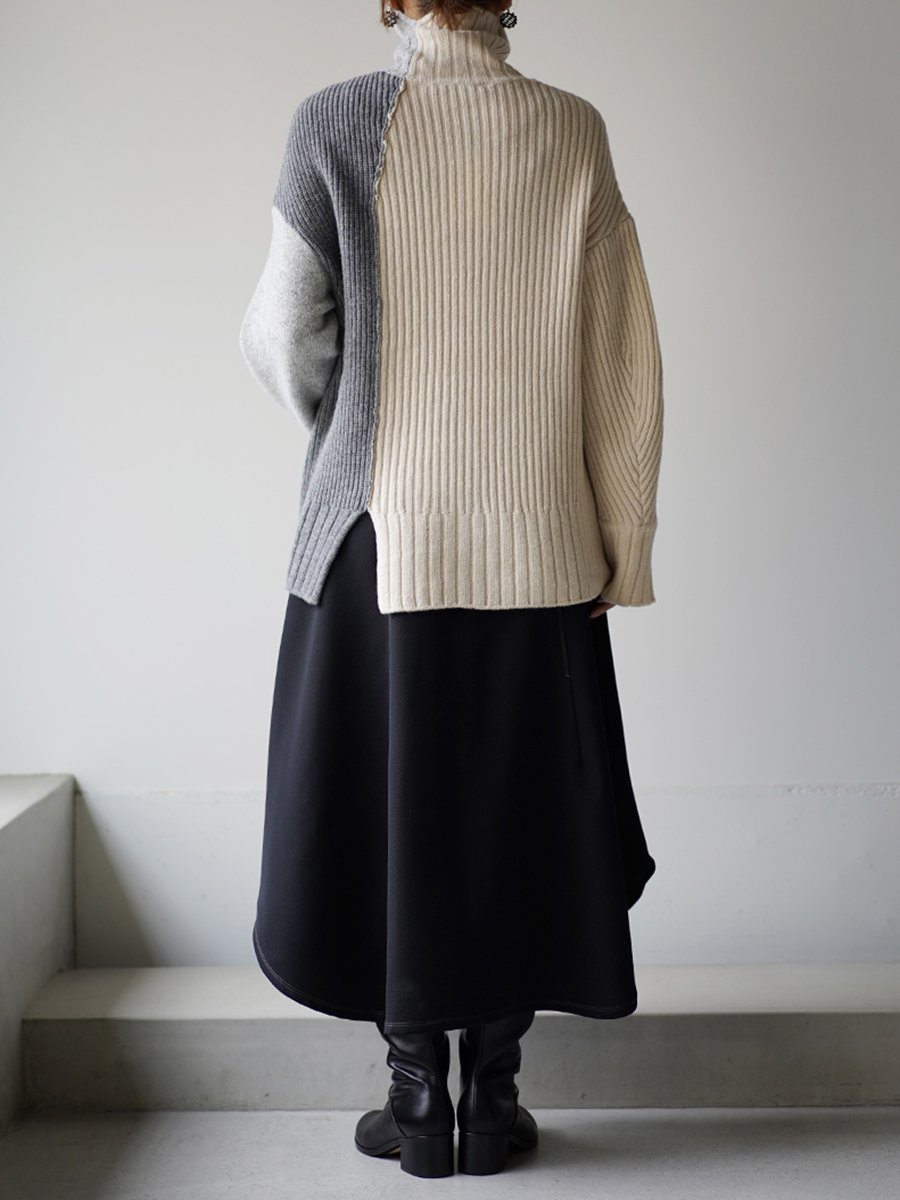 UJOH Low Gage Rib Cropped Turtle Neck Knit