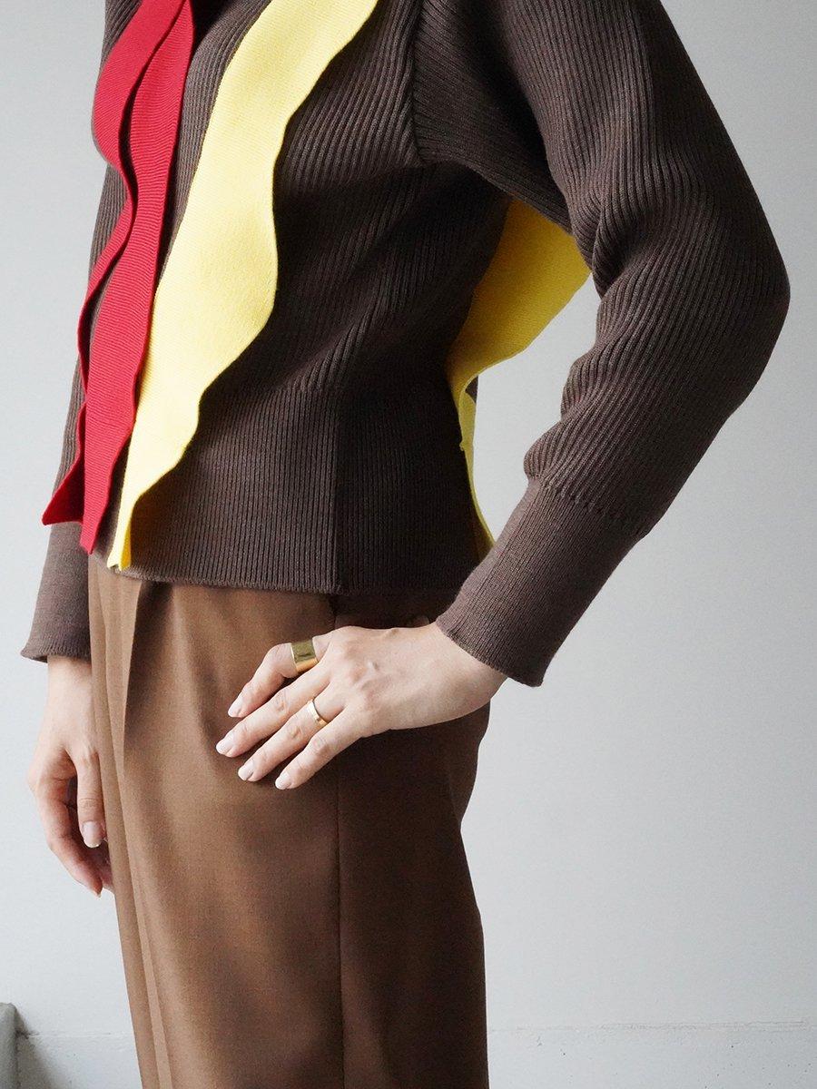 AKIRA NAKA Adela asymmetry panel knit pullover