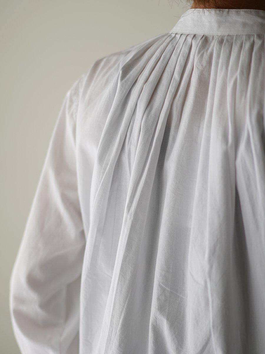 SEEALL PLEATED CLASSIC SHIRTS white