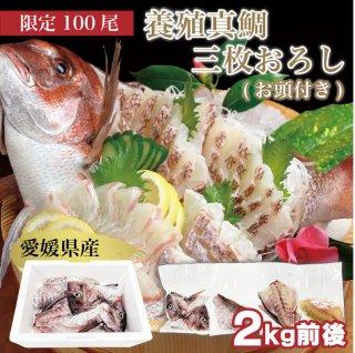 愛媛県産養殖真鯛 (お頭付き)3枚おろし