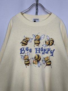 """Bee Happy"" Print Sweat Shirt"