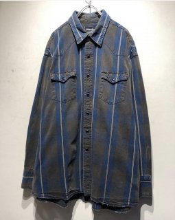 "1990's ""Wrangler"" L/S Denim Shirt 「check」"