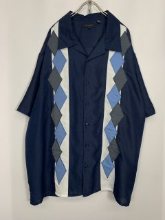 """""""SYNGRY"""" S/S Switching Design Shirt [Argyle]"""