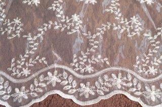 【生地】葉柄植物刺繍チュールレース 布地 カーテン 幅60〜80cm×丈270cm 白 輸入生地