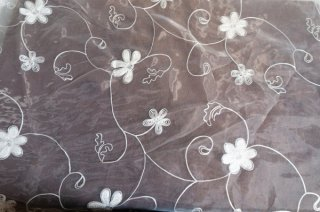 【生地】花模様 コード刺繍チュールレース 布地 カーテン 幅255cm×丈285cm 白 輸入生地