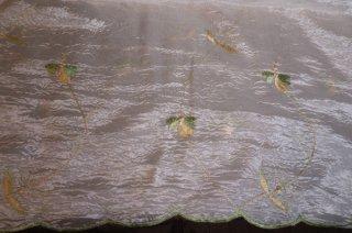 【生地】花・植物刺繍 光沢あり 布地 カーテン 幅172cm×丈285cm クリーム色 輸入生地