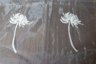 【生地】端切れ*タンポポ 花刺繍チュールレース 布地 カーテン 幅60〜105cm×丈190cm 白 輸入生地