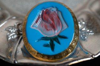 【ボタン】チェコ ヴィンテージ ガラスボタン 薔薇 ハンドペイント 大きめ 水色