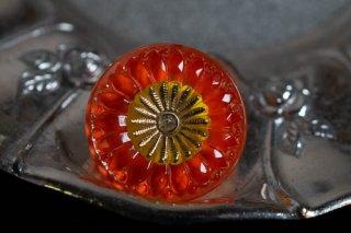 【ボタン】チェコ ヴィンテージ ガラスボタン ヒマワリ柄 オレンジ