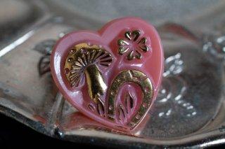 【ボタン】チェコ ヴィンテージ ガラスボタン キノコと四つ葉のクローバーと蹄鉄 ピンクハート