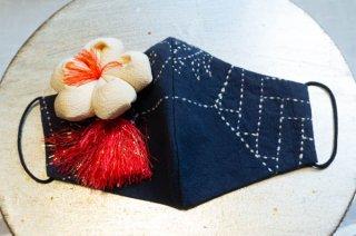 【マスク】藍染に縮緬の白花