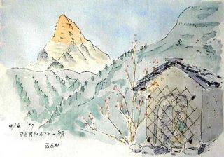 【水彩画】スイス旅行ーマッターホルン早朝