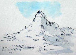 【水彩画】スイス旅行ーマッターホルンの冬
