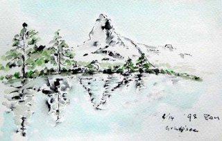 【水彩画】スイス旅行ーグリンジゼーからのマッターホルン