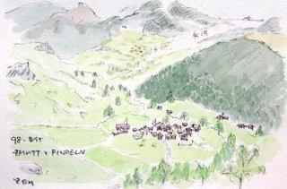 【水彩画】スイス旅行ーツムットの村
