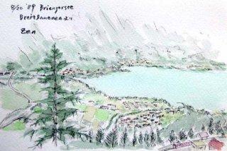 【水彩画】スイス旅行ーブリエンツ湖俯瞰