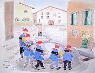 【水彩画】スイス旅行ーチャランダマーツの祭り