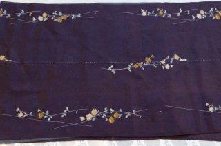 【生地】菊小花模様 灰紫の絹地 接ぎ合せあり 幅35cm
