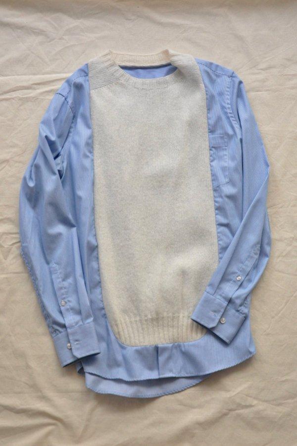 BLESS / Frontinsertshirt / White/Blue