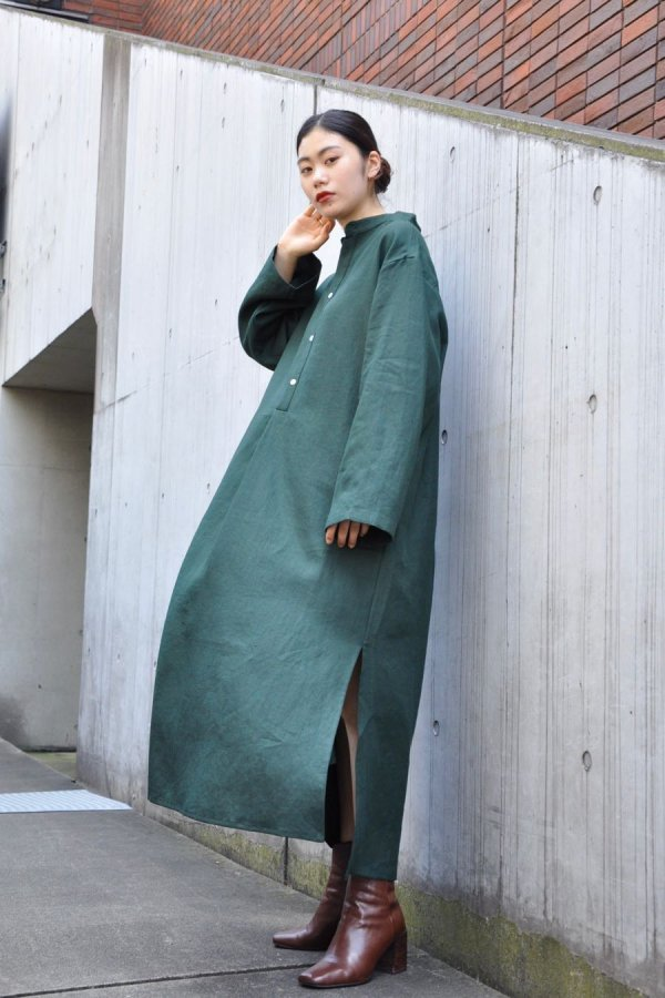 CRISTASEYA / JAPANESE LINEN MAXI SHIRT DRESS / GREEN