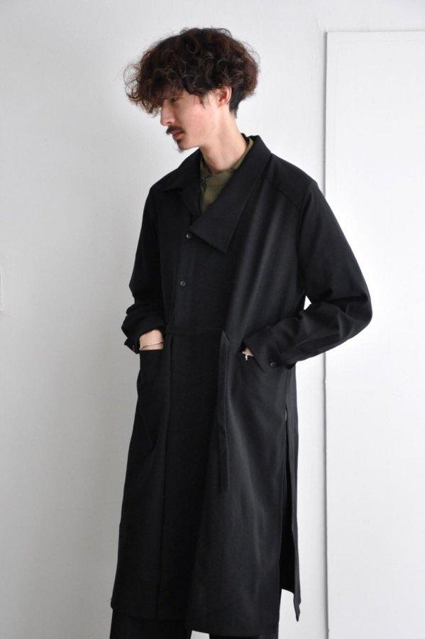 ETHOSENS / SHIFT COLLAR COAT SHIRT / BLACK