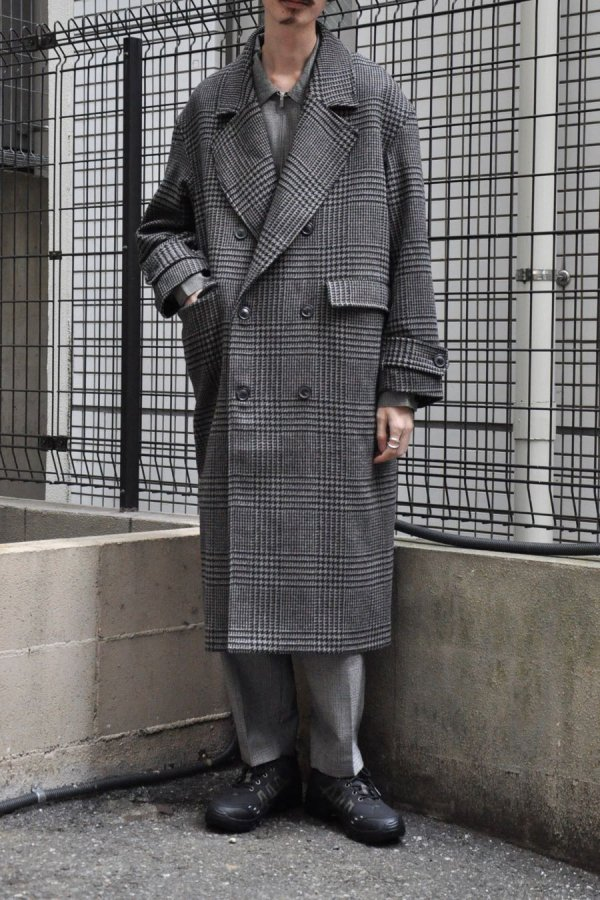 LOWNN / Double Breasted Overcoat / Light Grey check