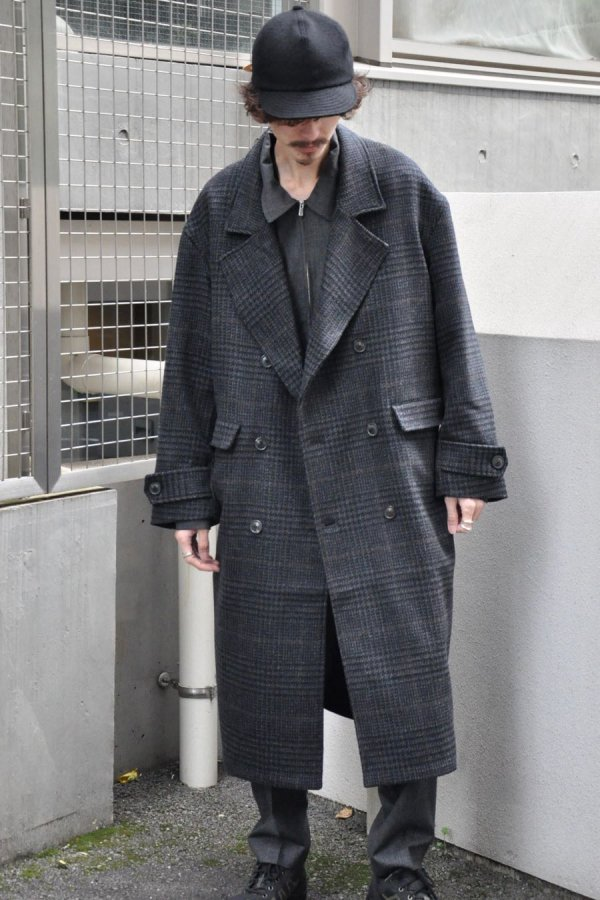 LOWNN / Double Breasted Overcoat / Dark Grey check