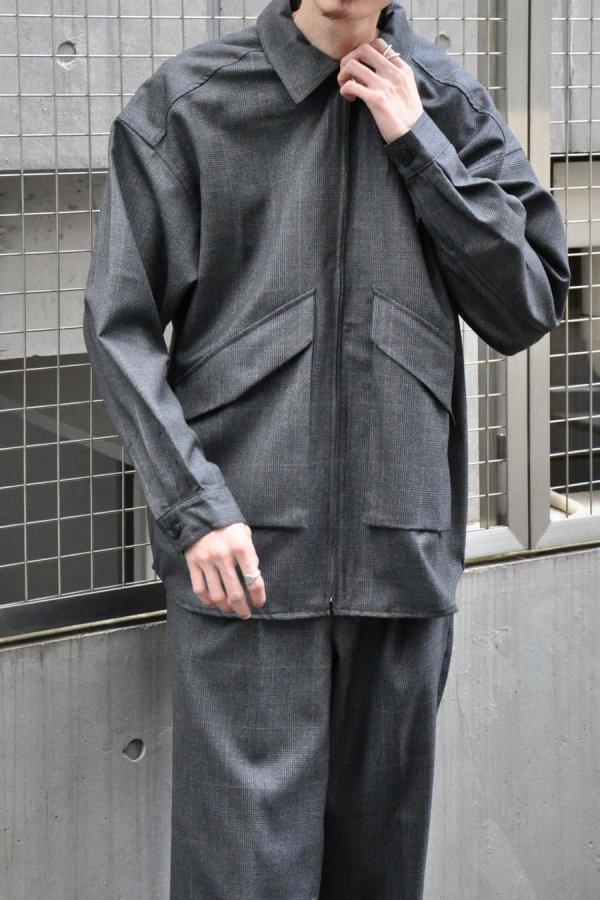 LOWNN / Zip Shirt / Dark Grey check