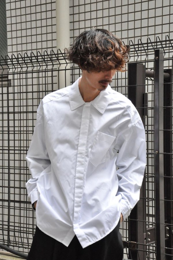 LOWNN / Minimal Shirt / White popeline