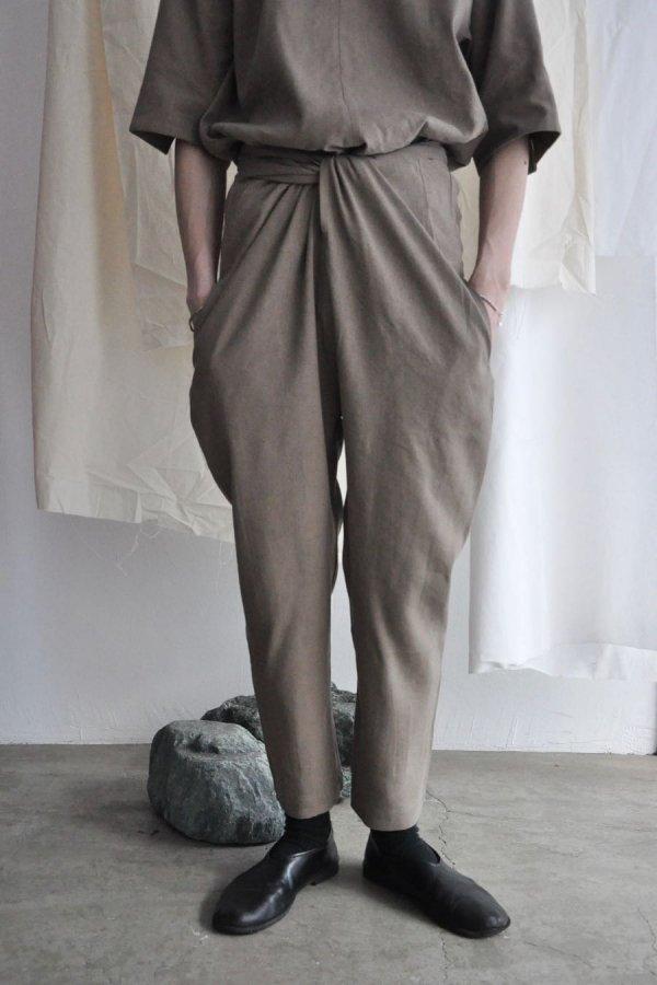 COSMIC WONDER / Silk&Linen wrapped pants / Brown