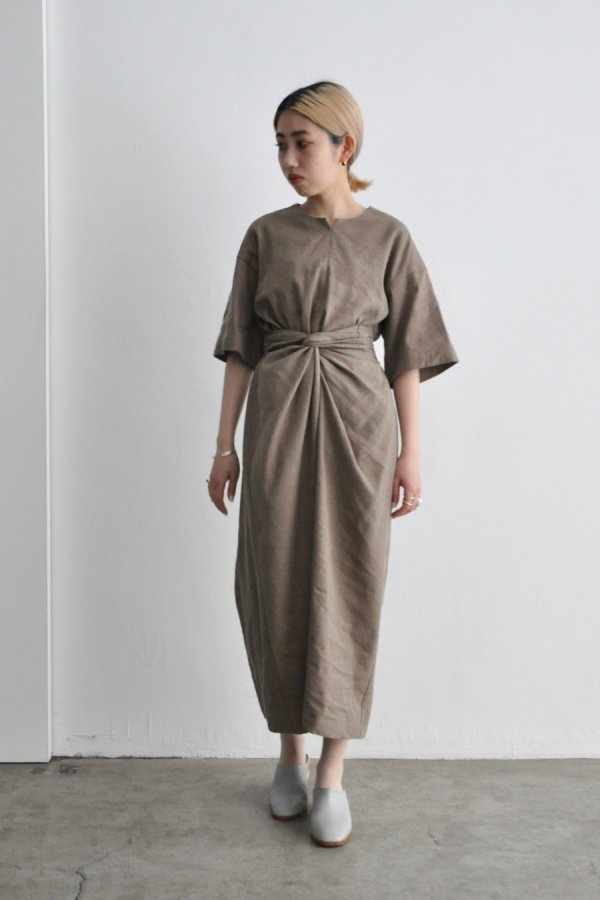 COSMIC WONDER / Silk & Linen wrapped dress / BROWN