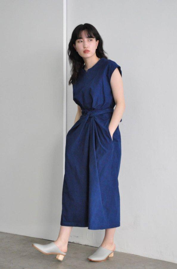 COSMIC WONDER / Wrapped sleeveless dress / RYUKYU INDIGO