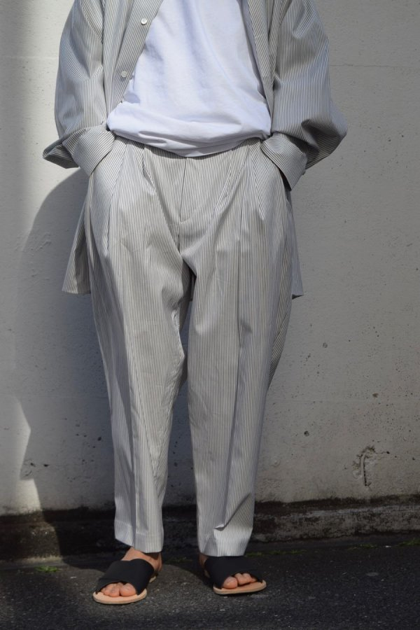 HED MAYNER / 4 PLEAT PANT / PINSTRIPE