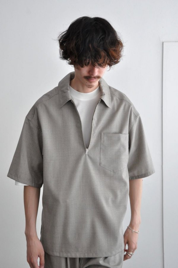 LOWNN / Polo Zip Shirt / Greige